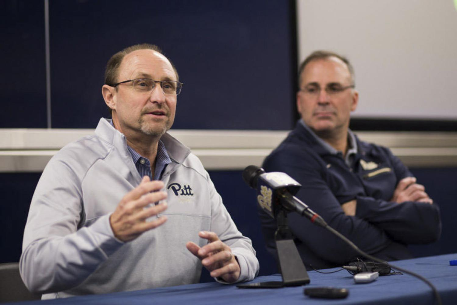 Pitt's new defensive coordinator, Randy Bates, speaks at his first press conference since arriving at Pitt from Northwestern. (Photo by John Hamilton | Contributing Editor) Art: Photos