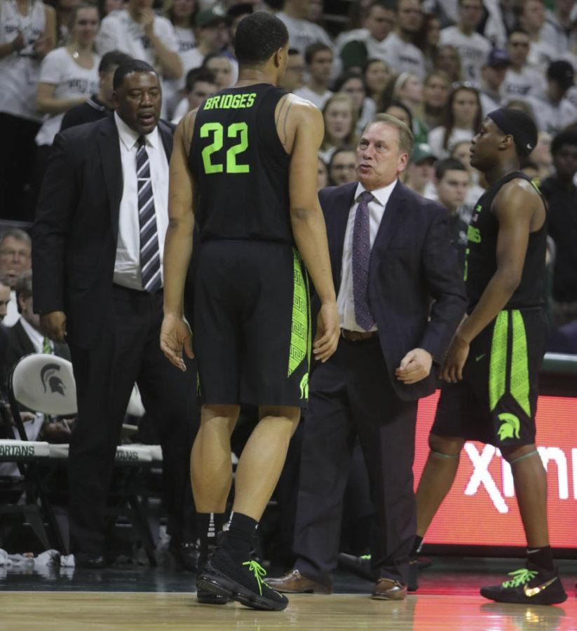 +Michigan+State+head+coach+Tom+Izzo+talk+to+guard+Miles+Bridges+%2822%29+during+second-half+action+against+Indiana+Friday%2C+Jan.+19%2C+2018%2C+at+the+Breslin+Student+Events+Center+in+East+Lansing%2C+Michigan.+%28Kirthmon+F.+Dozier%2FDetroit+Free+Press%2FTNS%29