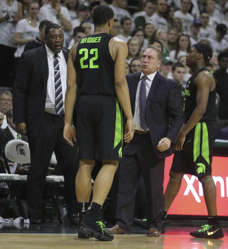 Michigan State head coach Tom Izzo talk to guard Miles Bridges (22) during second-half action against Indiana Friday, Jan. 19, 2018, at the Breslin Student Events Center in East Lansing, Michigan. (Kirthmon F. Dozier/Detroit Free Press/TNS)