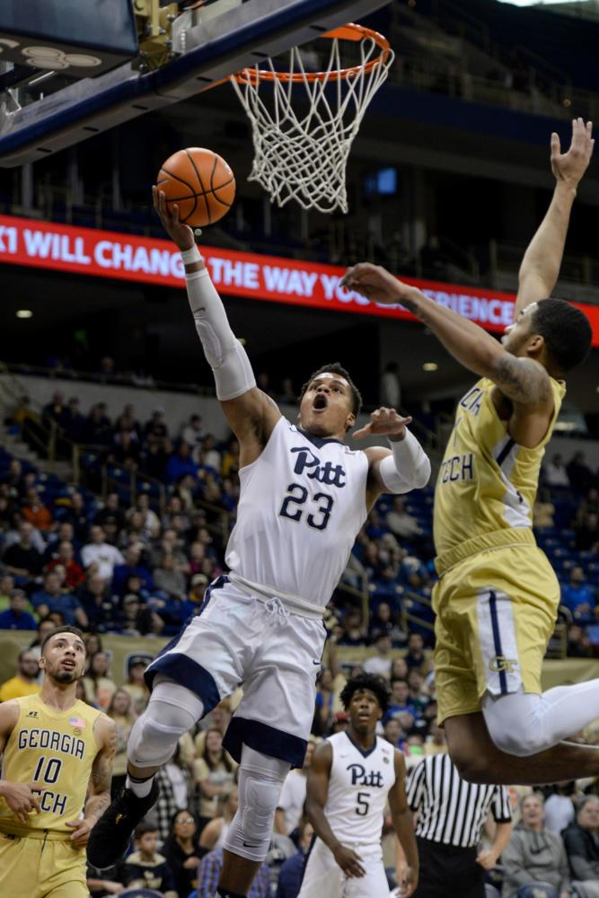 First-year forward Shamiel Stevenson scored 9 points during Pitt's 69-54 loss to Georgia Tech Saturday. (Photo by Chiara Rigaud | Staff Photographer)