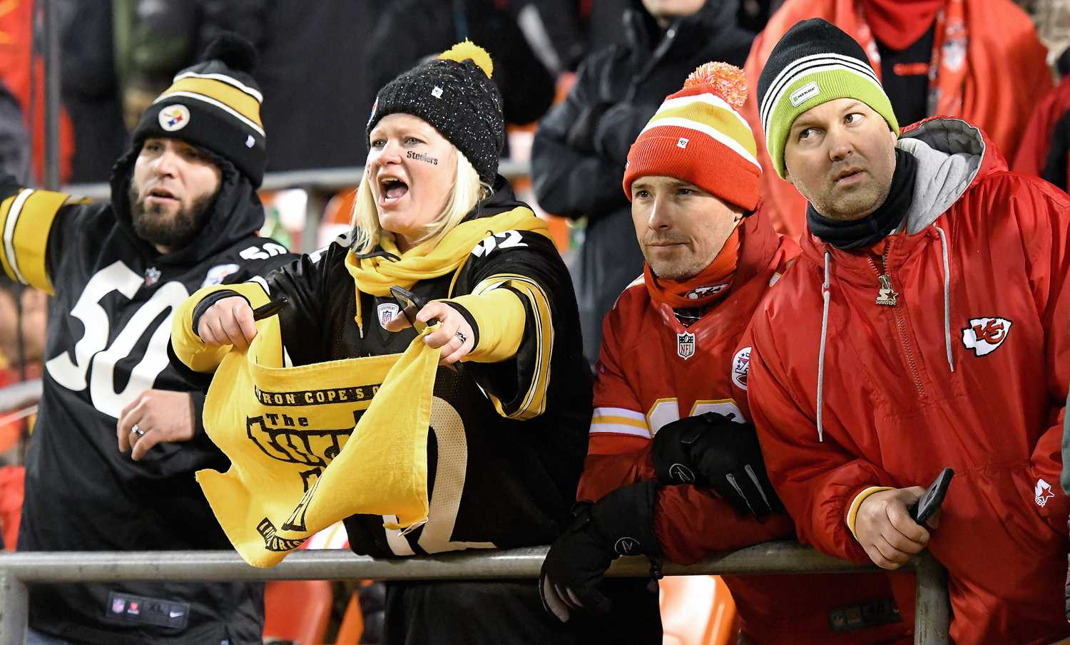 Pittsburgh Steelers fans celebrate their team's 18-16 win over the Kansas City Chiefs during the AFC Divisional Playoff game on Jan. 15, 2017 at Arrowhead Stadium in Kansas City. (John Sleezer/Kansas City Star/TNS) (File Photo)