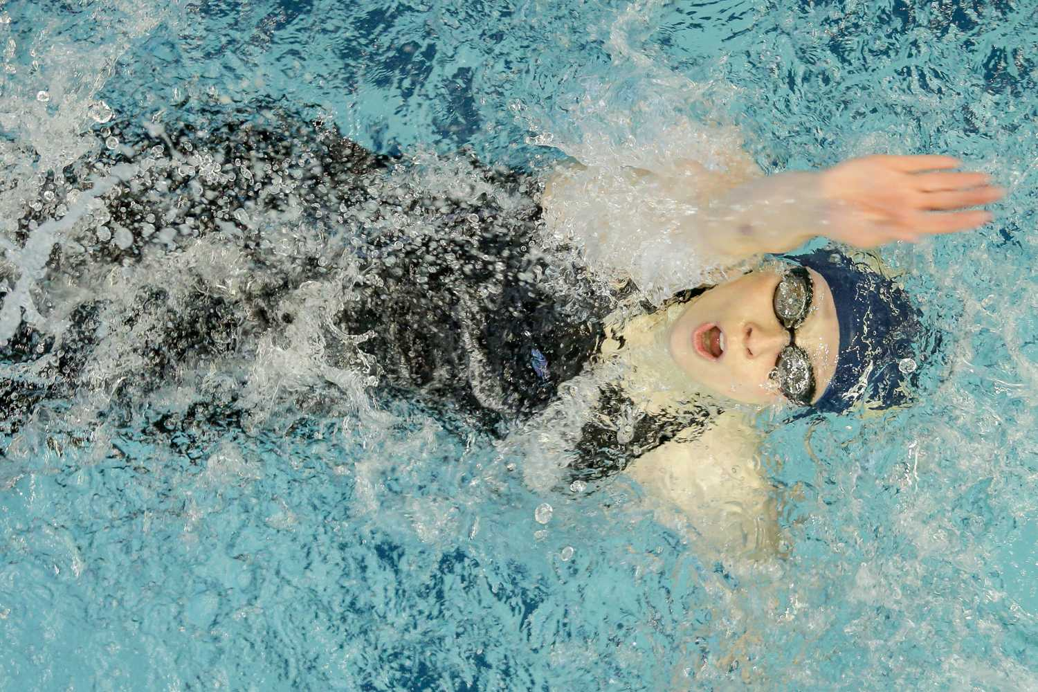 Sophomore swimmer Shan Hochkeppel placed second in the 100-meter backstroke. (Photo by Thomas Yang | Visual Editor)