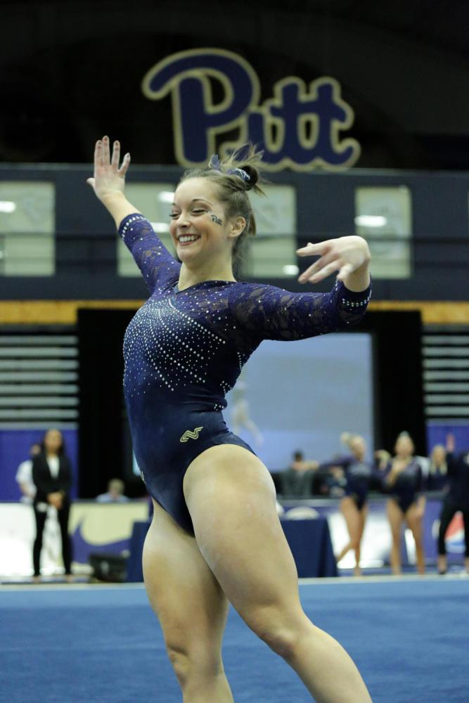 First year Haley Brechwald placed first in the floor event at Pitt's 196.225 to 195.175 victory over New Hampshire.  (Photo by Thomas Yang | Visual Editor)