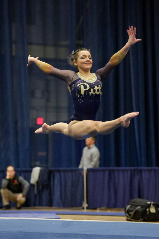 Pitt gymnastics' best performance emerged on the floor during its 194.850-194.125 loss to Oregon State Saturday night. (Photo by Thomas Yang   Visual Editor)