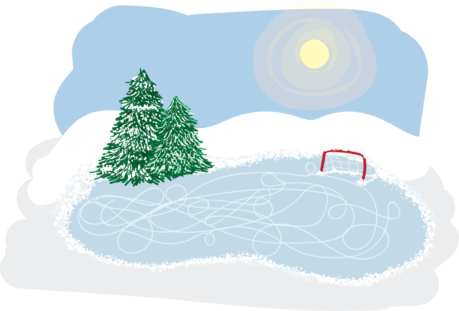 Cold weather and gray skies fail to prevent The Pitt News sports staff from enjoying their favorite winter activities. (Illustration by Elise Lavallee | Contributing Editor)