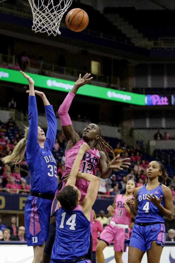 Women's Basketball: Junior forward Yacine Diop attempts a layup during Pitt's 58-46 loss to Duke at this year's Pink the Pete game. (Photo by Thomas Yang | Visual Editor)