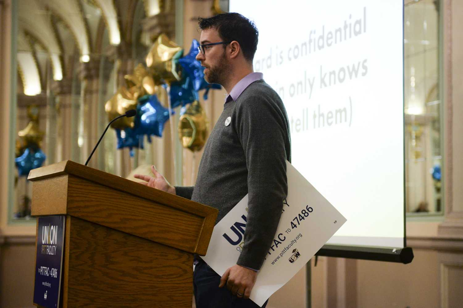 Paul Johnson, a faculty union organizer and Pitt communications professor, gives information about the union's progress to about 50 people in the William Pitt Union Ballroom in January 2018.