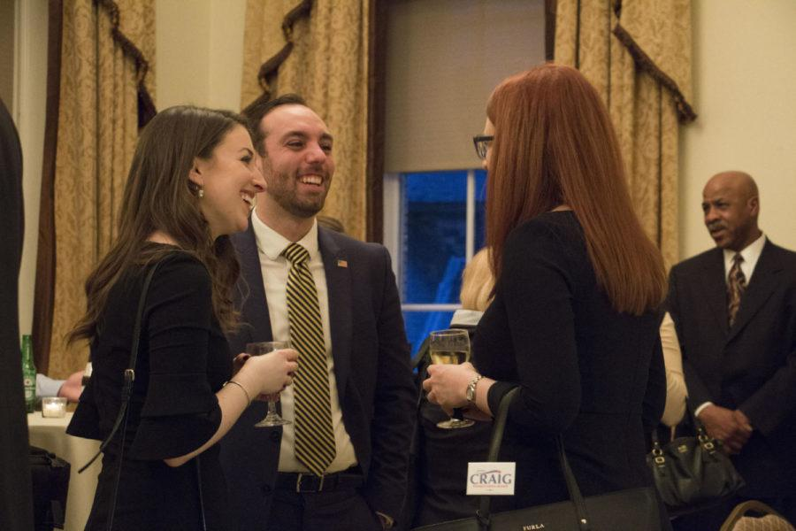 Pitt Alum James Craig (center) spoke about his plan to run for the District 46 Pennsylvania State Senate seat at the University Club Thursday evening.  (Photo by Christian Snyder | Online Visual Editor)