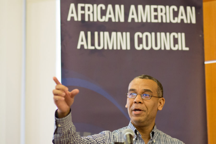 Arif Jamal, a liaison librarian for African studies, Africana studies and social work, introduces the panelists at the Total Justice and True Black Freedom discussion Wednesday. (Photo by Thomas Yang | Visual Editor)