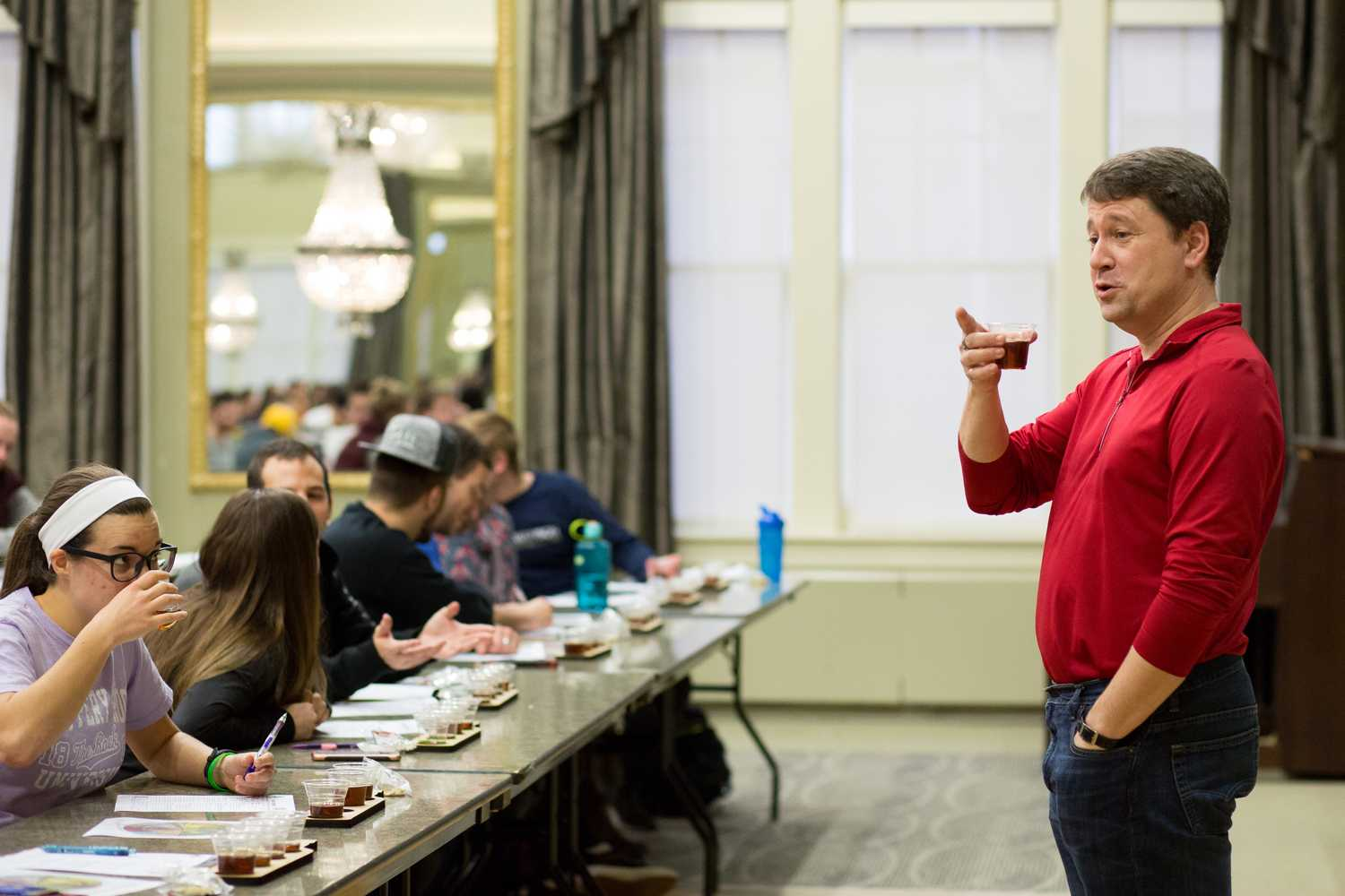 Professor Robert Parker addresses his students during a quiz in his class, Engineering a Craft Brewery, Thursday afternoon. (Photo by Thomas Yang | Visual Editor)