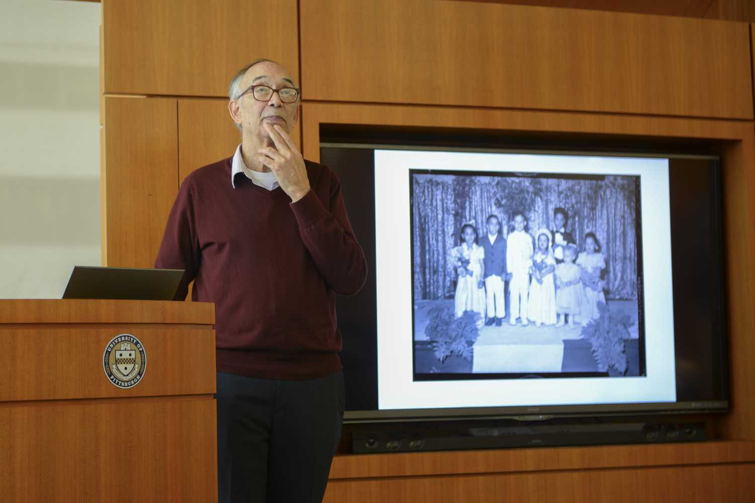 "Larry Glasco, an associate professor at Pitt's department of history, gave a lecture called ""The Best of Times: Black Pittsburgh During WWII"" Wednesday night in Hillman Library. (Photo by Chiara Rigaud 