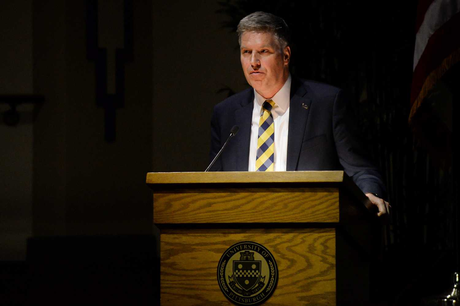 Chancellor Patrick Gallagher discusses the proposed changes to the Pitt-Titusville campus the Board of Trustees meeting Friday morning. (Photo by Christian Snyder | Multimedia Editor)