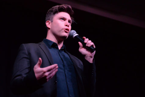 Colin Jost jokes about Pitt, pot and primates