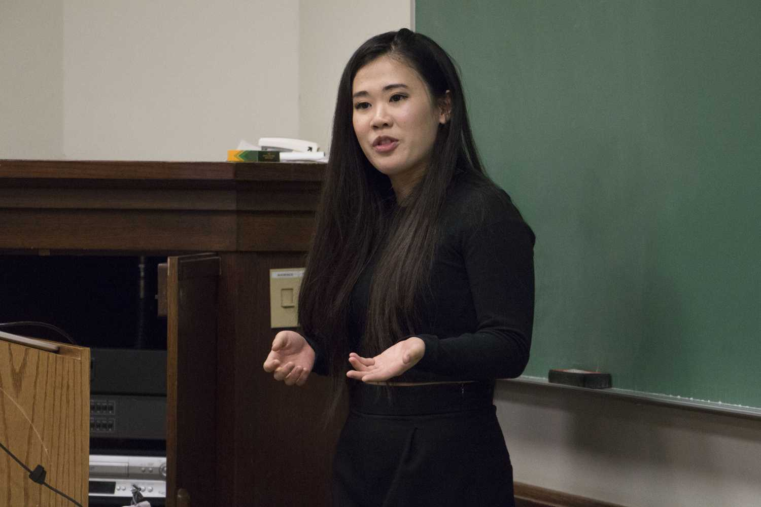 Emily Hirao, a senior majoring in business technology and president of Carnegie Mellon University's business technology club, visited Pitt Monday night to share her experiences with juggling being a student and an employee working in Wall Street banking. (Photo by Issi Glatts | Assistant Visual Editor)