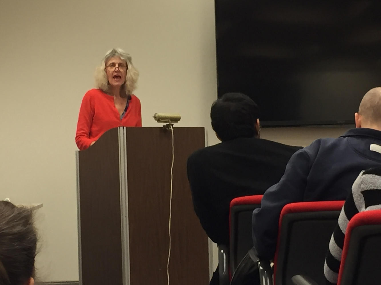 "Anne Allison, professor of cultural anthropology at Duke University, discusses her research on the sociality of death in Japan at Friday's ""Matter of Death"" event. (Photo by Noah Manalo 