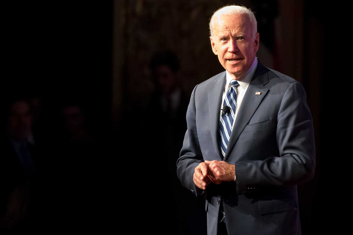 Former Vice President Joe Biden addresses the audience one final time before the conclusion of Monday night's American Promise Tour event at Carnegie Music Hall.