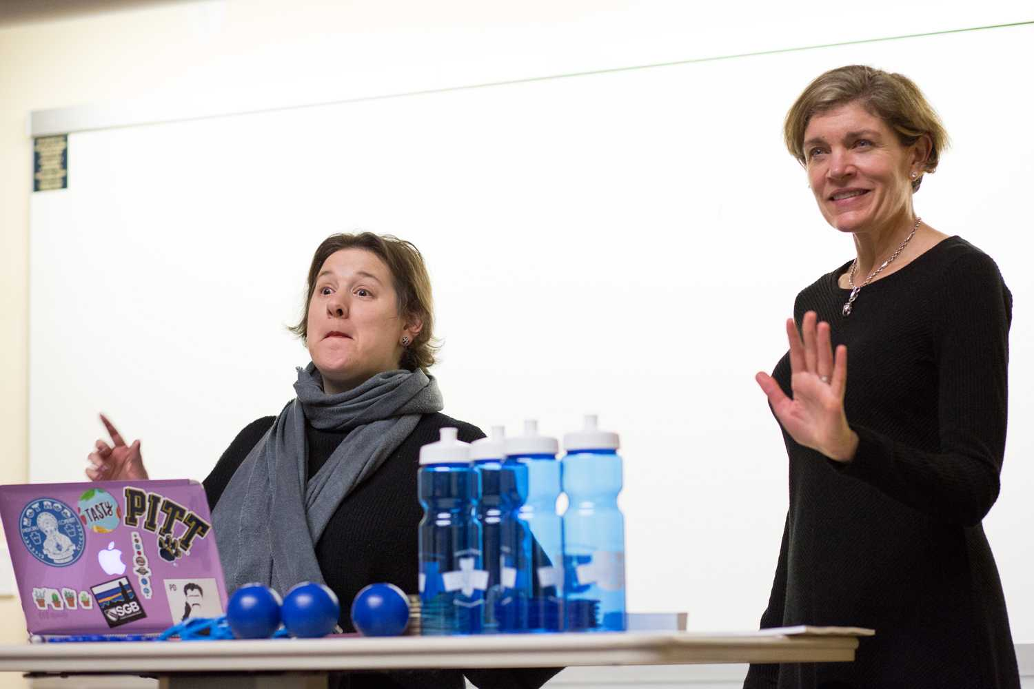 Dr. Marni Greenwald (left) and Dr. Elizabeth Wettick (right) discuss the details of the Mollyschum contagiosum virus at Student Government Board's Sexual Health Q&A event Thursday. (Photo by Thomas Yang | Visual Editor)