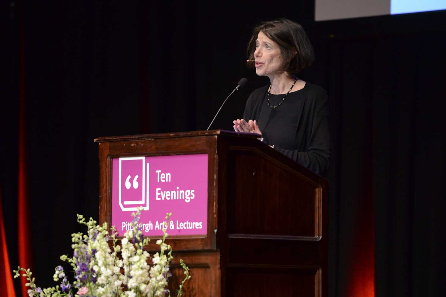 Susan Faludi, a feminist journalist and author, spoke to a large crowd Monday night in the Carnegie Music Hall about her history and her parent's experiences as a Holocaust survivor, Hungarian-American immigrant and transgender woman. (Photo by Isabelle Glatts | Assistant Visual Editor)
