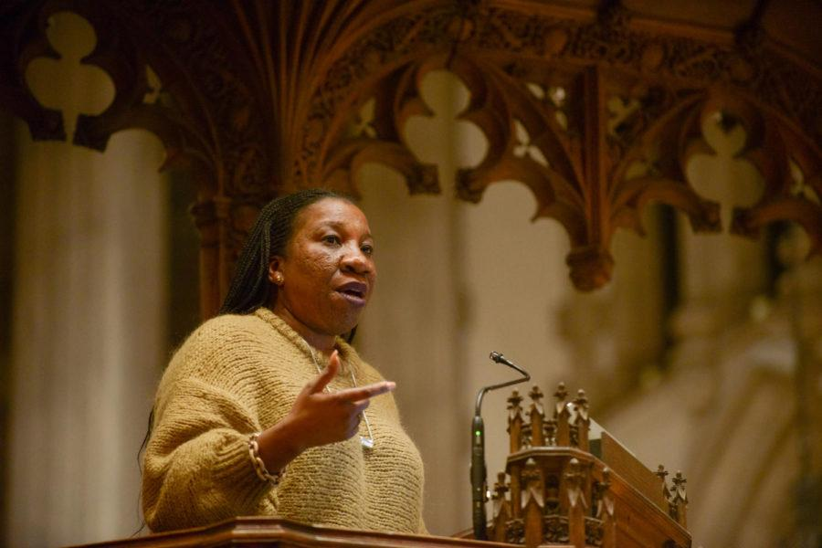 Tarana+Burke%2C+the+founder+of+the+%23MeToo+movement%2C+discusses+female+empowerment+and+preventing+sexual+harassment+at+Calvary+Episcopal+Church+Tuesday+night.+%28Photo+by+Christian+Snyder+%7C+Multimedia+Editor%29