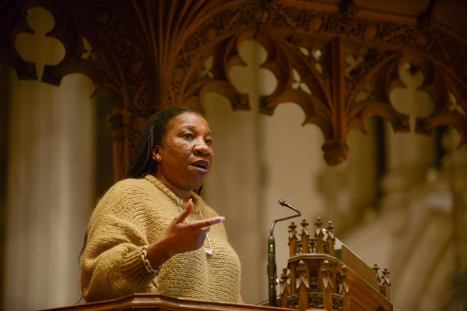 Tarana Burke, the founder of the #MeToo movement, discusses female empowerment and preventing sexual harassment at Calvary Episcopal Church Tuesday night. (Photo by Christian Snyder | Multimedia Editor)