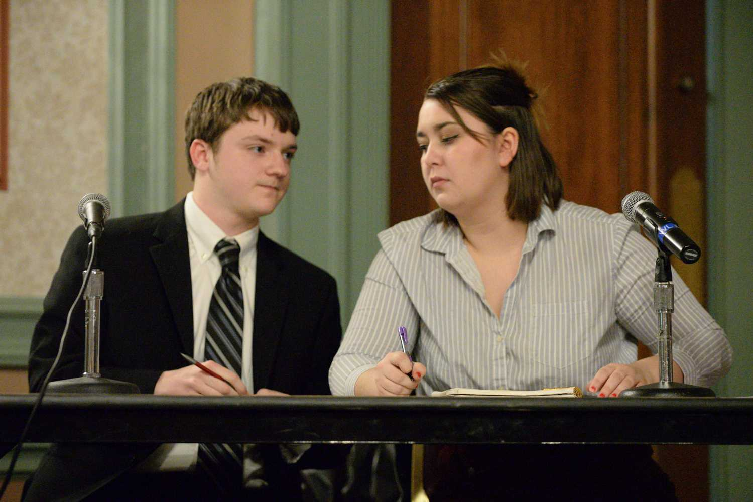 "Paul Cox and Becca Tasker, members of Pitt Progressives, respond to an argument made by the Pitt Libertarians at a debate hosted by ""The Bully PulPitt"" Wednesday. (Photo by Issi Glatts 