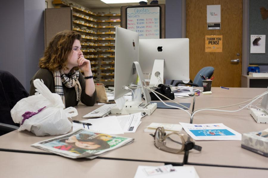 Assistant Layout Editor Rachel Glasser often works alone in an empty production room. (Photo by Thomas Yang | Visual Editor)