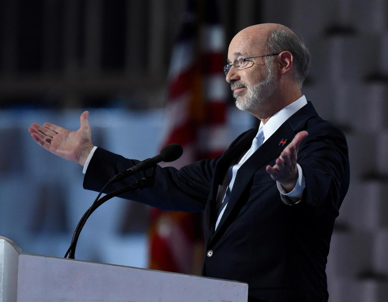 Pennsylvania Gov. Tom Wolf speaks during the last day of the Democratic National Convention at the Wells Fargo Center in Philadelphia on July 28, 2016. (Clem Murray/Philadelphia Inquirer/TNS)