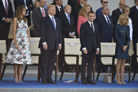 President Donald Trump, first lady Melania Trump and French President Emmanuel Macron, along with Brigitte Macron, attend the annual Bastille Day military parade on Champs-Elysees Avenue in Paris July 14, 2017. (Lionel Hahn/Abaca Press/TNS)