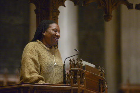 Tarana Burke, founder of the #MeToo movement, discusses how the use of intersectional feminism on social media can be divisive or inclusive depending on the user's syntax Tuesday night at the Calvary Episcopal Church in Shadyside. (Photo by Christian Snyder | Contributing Editor)