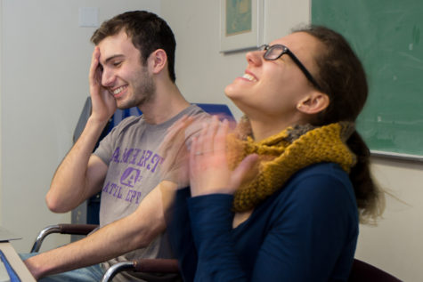 Opinions Editor Henry Glitz and Assistant Opinions Editor Sarah Shearer cringe at the thought of the possible injuries that could occur during an ice skating accident. (Photo by Thomas J. Yang | Visual Editor)