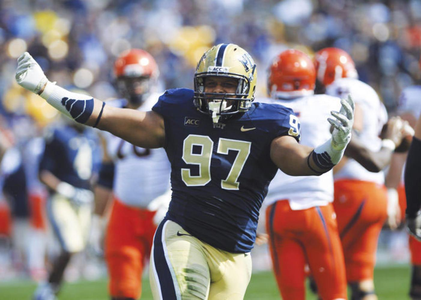 Aaron Donald won four national defensive awards in his senior season at Pitt. (TPN File Photo)