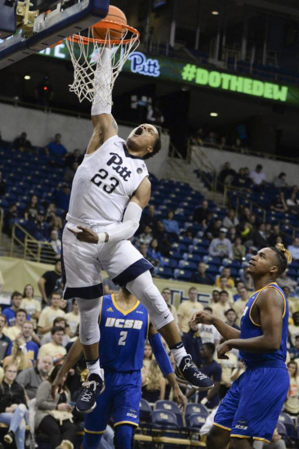 Shamiel+Stevenson+%2823%29+was+the+Panthers%E2%80%99+lead+scorer+with+10+points+in+Pitt%E2%80%99s+73-56+loss+against+Notre+Dame+Wednesday+night.+%28Photo+by+Anna+Bongardino+%7C+Senior+Staff+Photographer%29