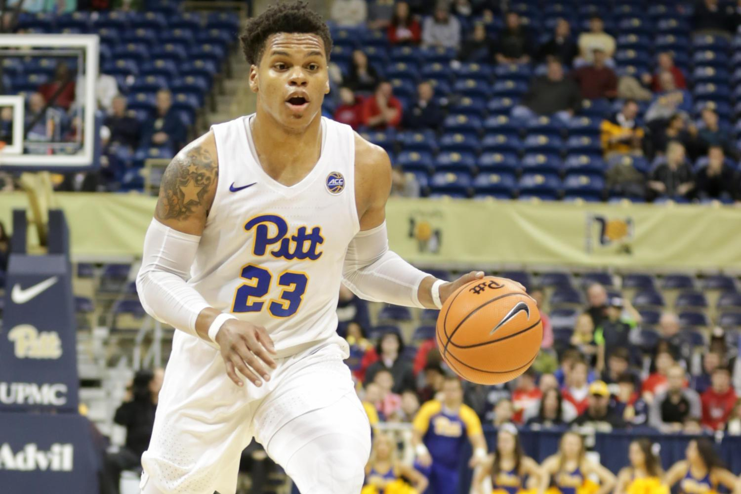 First-year guard Shamiel Stevenson scored 15 points during Pitt's 94-60 loss to Louisville Sunday. (Photo by Anas Dighriri | Staff Photographer)