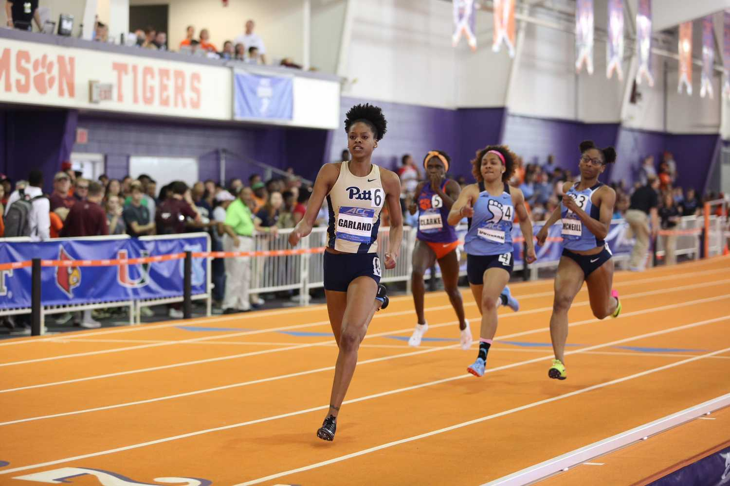 Senior Desiree Garland earned Pitt's first ACC women's indoor track and field gold medal in the 400m dash at the ACC Indoor Track and Field Championships Saturday. (Courtesy of Pitt Athletics)