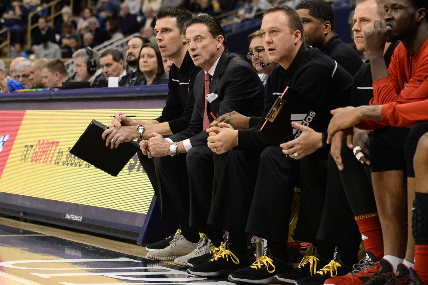 Former Louisville men's basketball head coach Rick Pitino watches from the bench as the Panthers play the Cardinals Jan. 24, 2017, at the Petersen Events Center. (TPN File Photo)