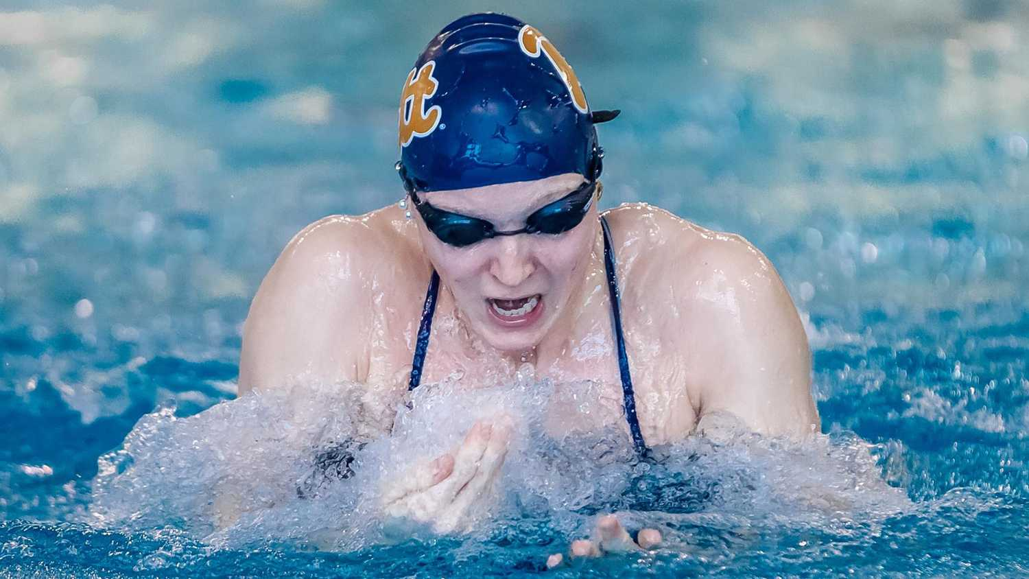 Senior swimmer Lina Rathsack earned silver in the 100-meter breaststroke at the ACC Women's Swimming Championship this weekend. (Photo courtesy of Pitt Athletics)