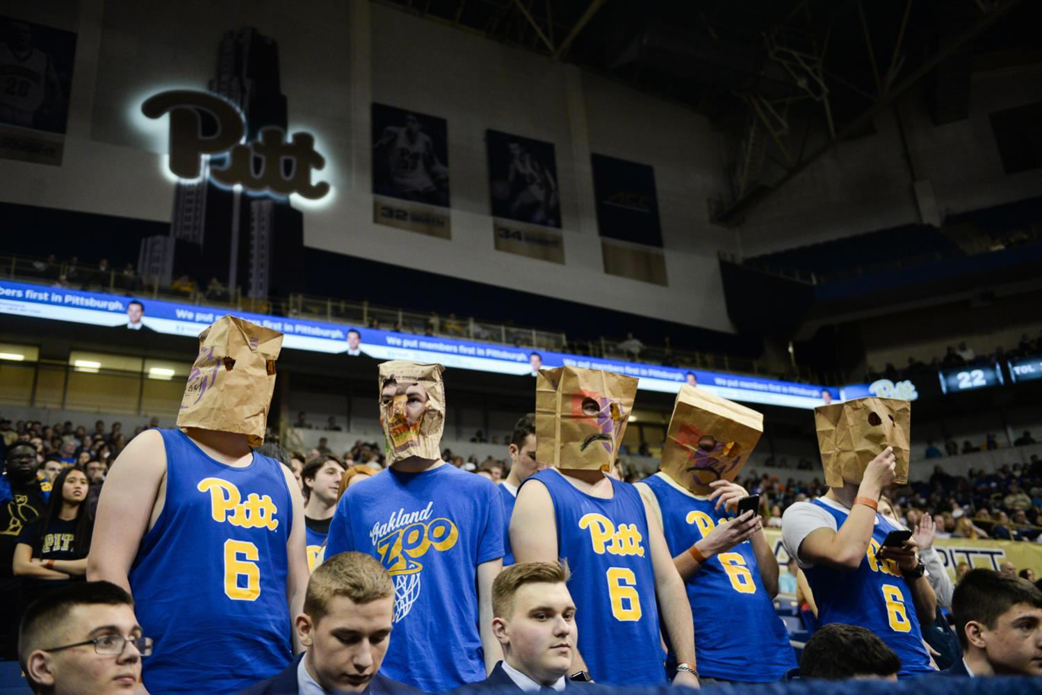 Fans wear paper bags over their head as they watch Pitt lose its 17th straight game. (Photo by John Hamilton / Managing Editor)