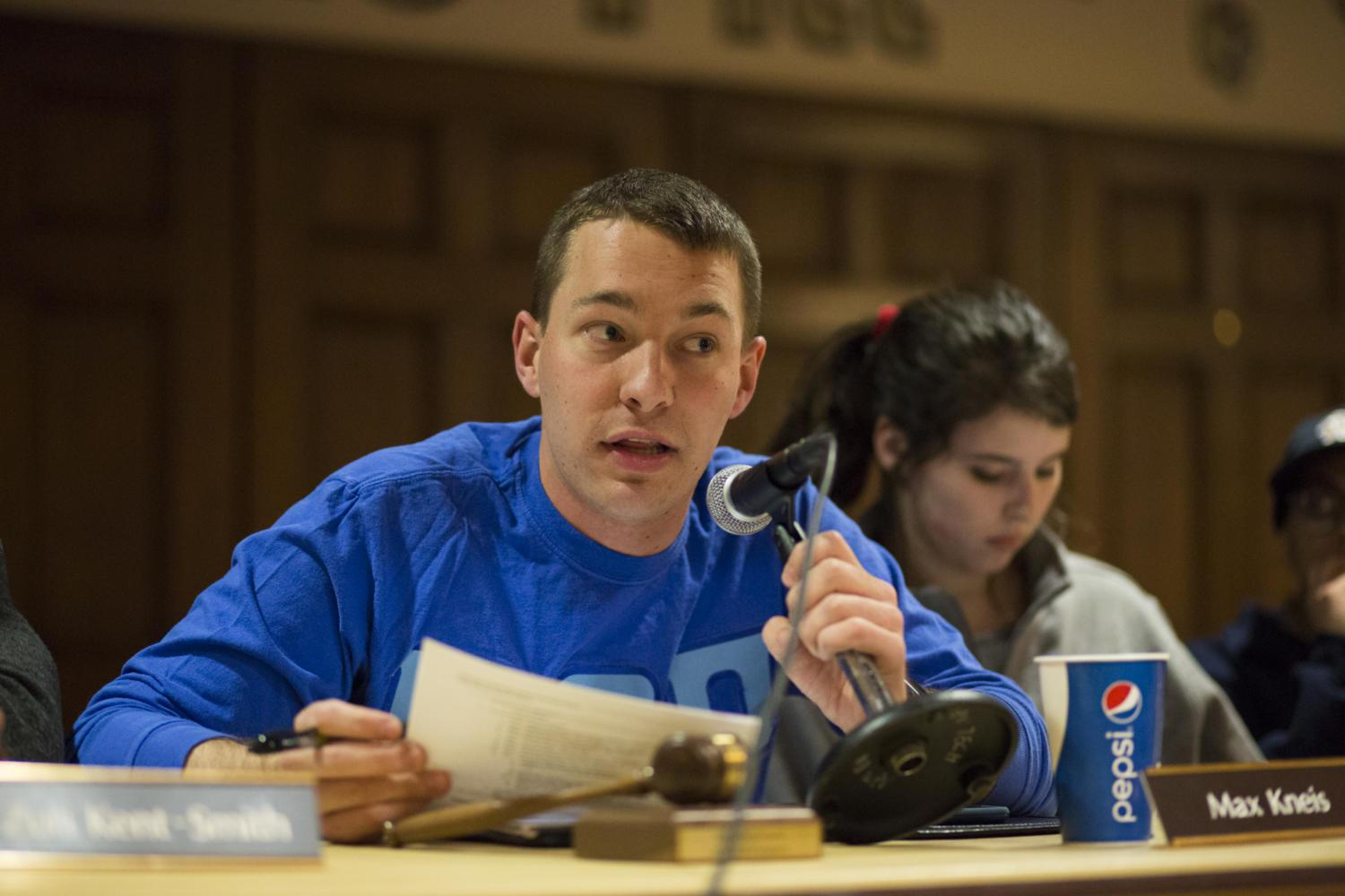 SGB President Max Kneis discussed the upcoming March For Our Lives event Saturday. (Photo by Thomas Yang | Visual Editor)