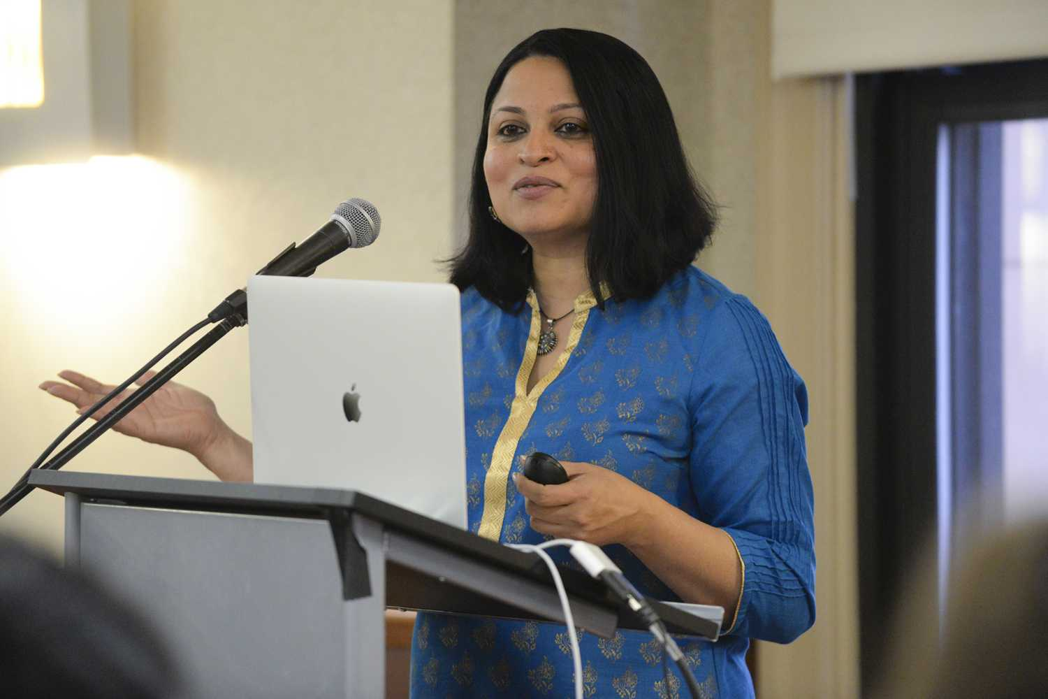 "Deepa Iyer, a South Asian American activist, writer and lawyer, spoke to Pitt students about her recent book, ""We Too Sing America: South Asian, Arab, Muslim, and Sikh Immigrants Shape Our Multiracial Future"" in the William Pitt Union Wednesday evening. (Photo by Issi Glatts 