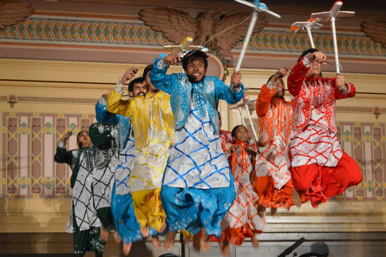Pitt's First Class Bhangra dance group performs at Saturday evening's Dhirana dance competition. (Photo by Janine Faust | Contributing Editor)
