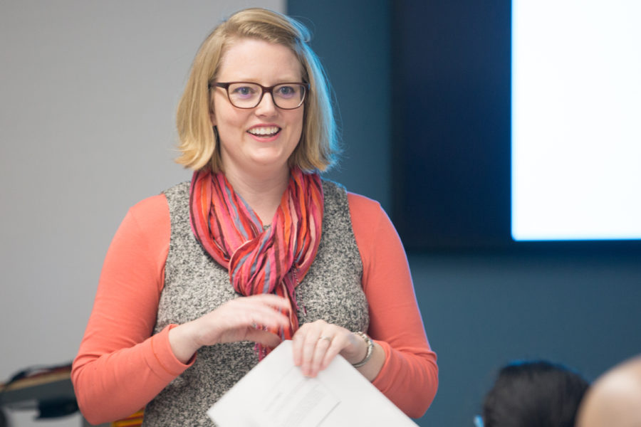 "Anna-Maria Karnes, Pitt's African Studies Program Community Engagement Coordinator, discusses empowering Ethiopian women and girls to seek higher education at Tuesday afternoon's ""Education in Ethiopia"" event. (Photo by Anas Dighriri 