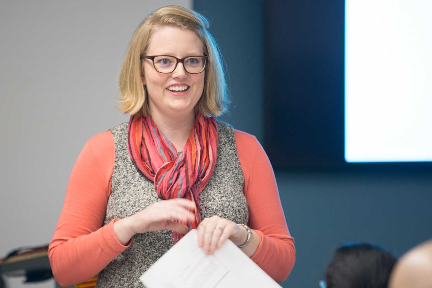 """Anna-Maria Karnes, Pitt's African Studies Program Community Engagement Coordinator, discusses empowering Ethiopian women and girls to seek higher education at Tuesday afternoon's """"Education in Ethiopia"""" event. (Photo by Anas Dighriri 