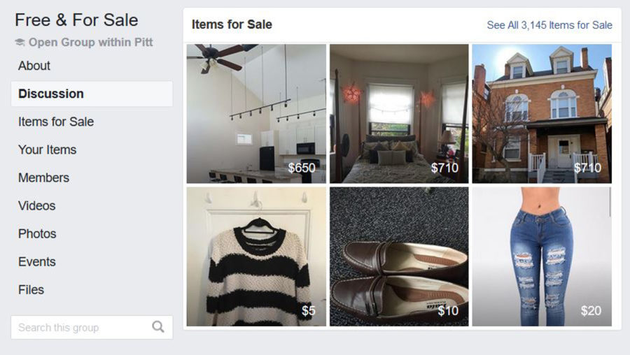 Free & For Sale pages allow students to locally buy and sell used items. (Image via Free & For Sale Facebook)