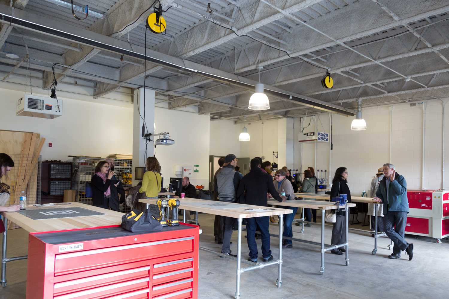 The University of Pittsburgh Manufacturing Assistance Center's Makerspace held a grand opening to the public Friday morning. (Photo by Anas Dighriri | Staff Photographer)
