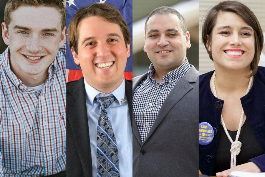 (From left) Josh Nulph, Jacob Pavlecic, Kareem Kandil and Sara Innamorato are all current or former Pitt students running for the state House. (Images via Facebook)