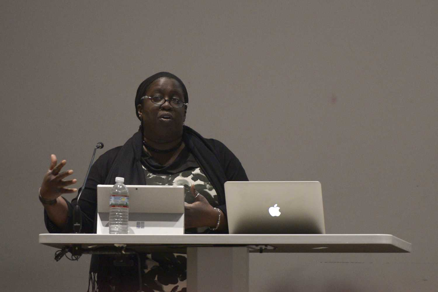 Jacqueline Patterson, the director of the NAACP Environmental and Climate Justice Program, advocates for reducing harmful emissions and advancing energy efficiency and clean energy at the Environmental Justice is Racial Justice is Gender Justice event hosted by Unkind Institute in the Frick Fine Arts Building. (Photo by Sarah Cutshall | Staff Photographer)