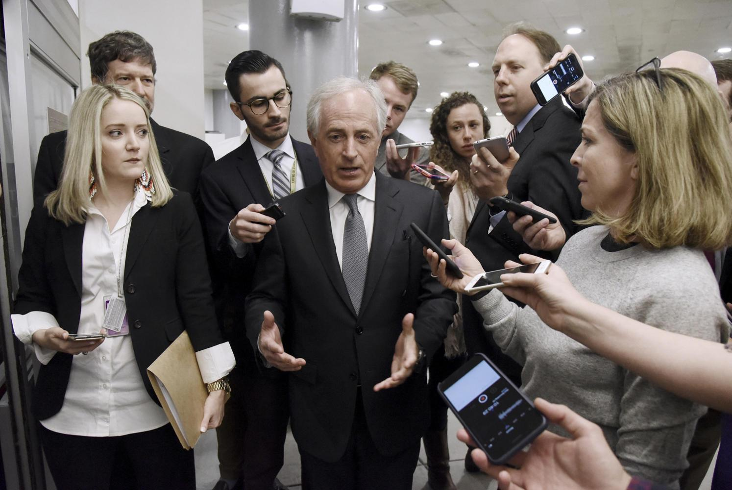 Sen. Bob Corker, chairman of the Senate Foreign Relations Committee, talks to reporters Tuesday, March 13, 2018 on Capitol Hill about CIA Director Mike Pompeo's nomination as Secretary of State in Washington, D.C. (Olivier Douliery/Abaca Press/TNS)