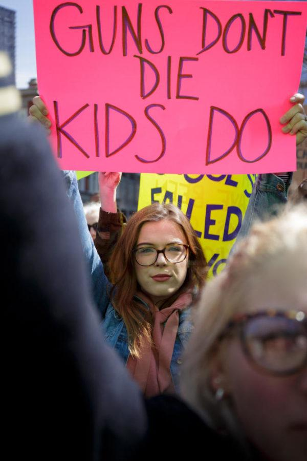 A+demonstrator+participates+in+the+March+For+Our+Lives+rally%2C+in+which+protesters+demanded+stricter+gun+control+laws+Saturday+morning.+%28Photo+by+Thomas+Yang+%7C+Visual+Editor%29+