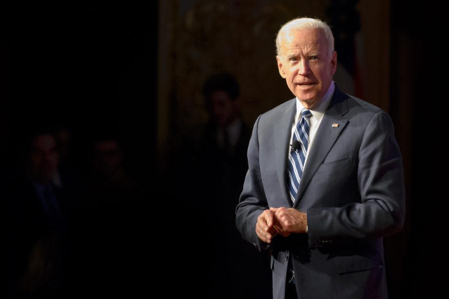 Former Vice President Joe Biden speaks at Carnegie Music Hall Feb. 12. (Photo by Thomas Yang | Visual Editor)