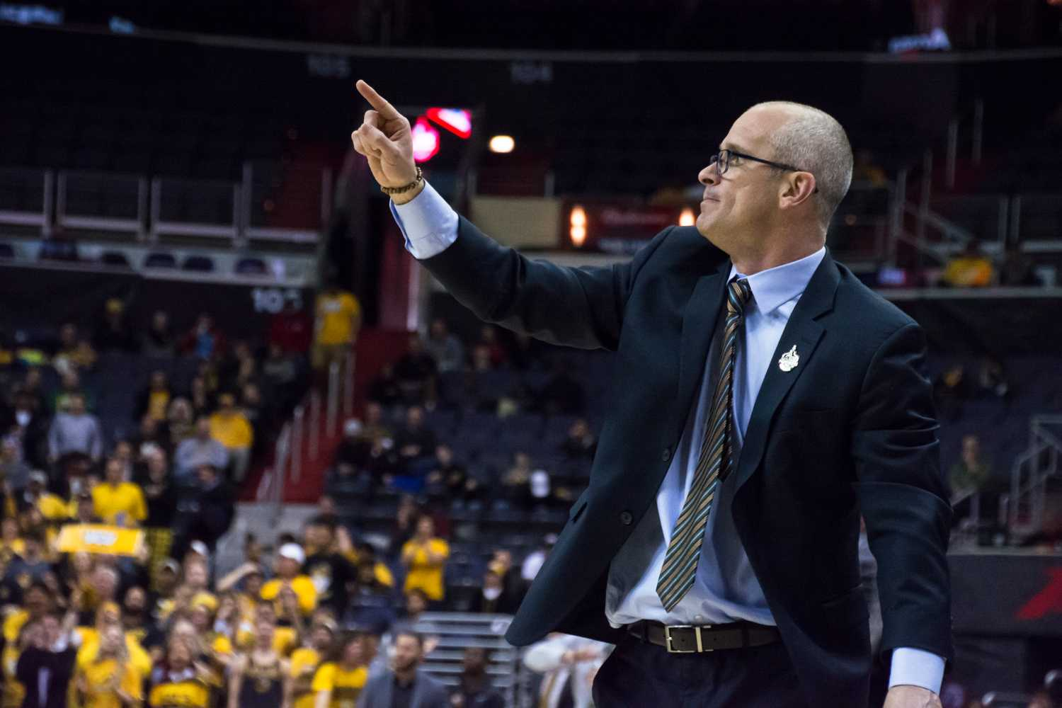 The University of Rhode Island men's basketball coach Dan Hurley at the Atlantic 10 conference. (Photo courtesy of Autumn Walker/The Good 5 Cent Cigar)